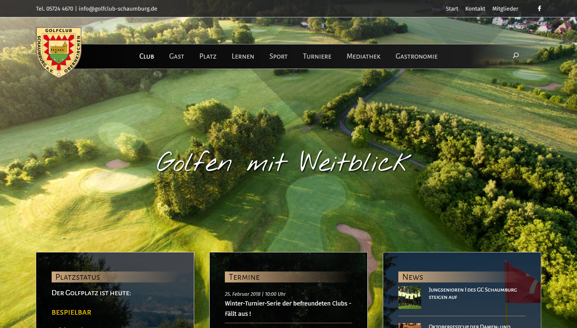 Screenshot Internetseite Golfclub Schaumburg