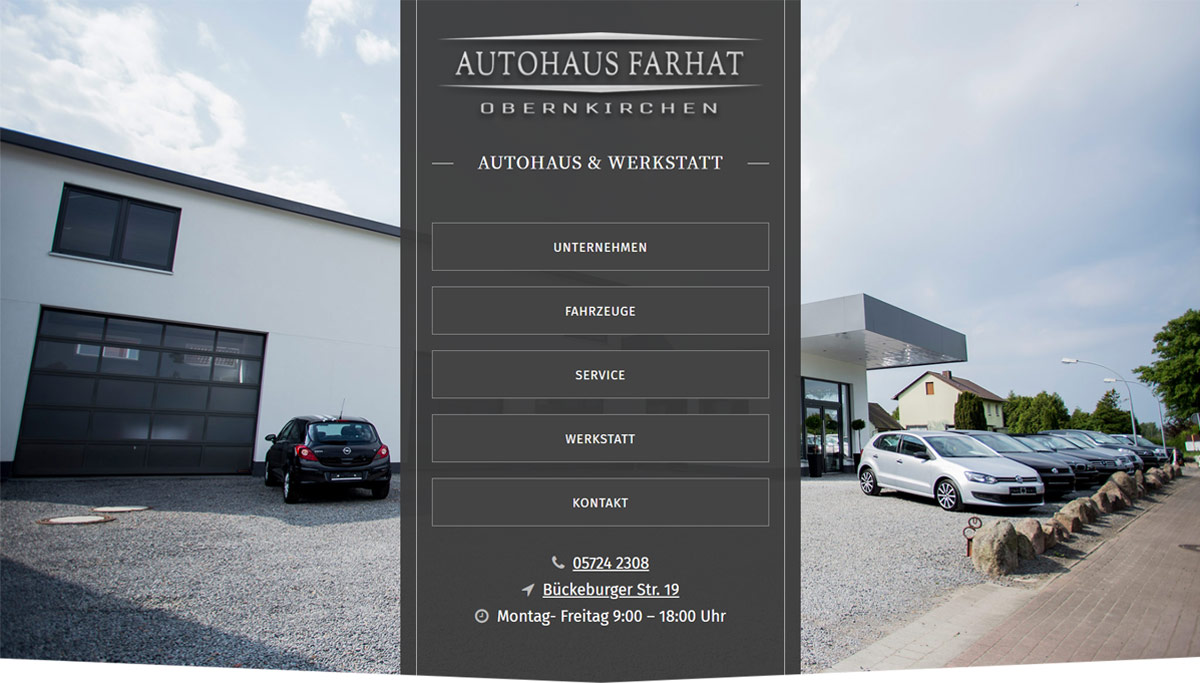 screenshot Internetseite Autohaus Farhat Obernkirchen