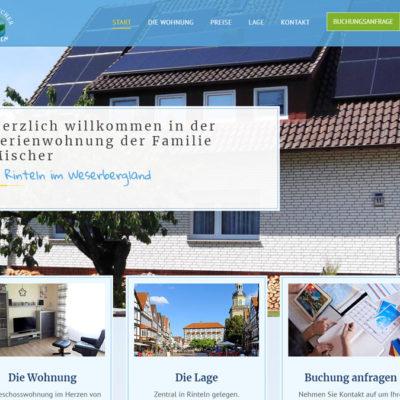 Screenshot Internetseite fewo-rinteln-mischer.de