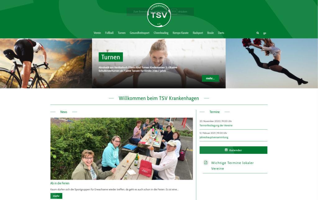 Screenshot Webseite TSV Krankenhagen